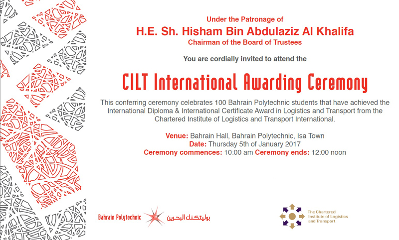 CILT International Awarding Ceremony 2017 - Bahrain Polytechnic